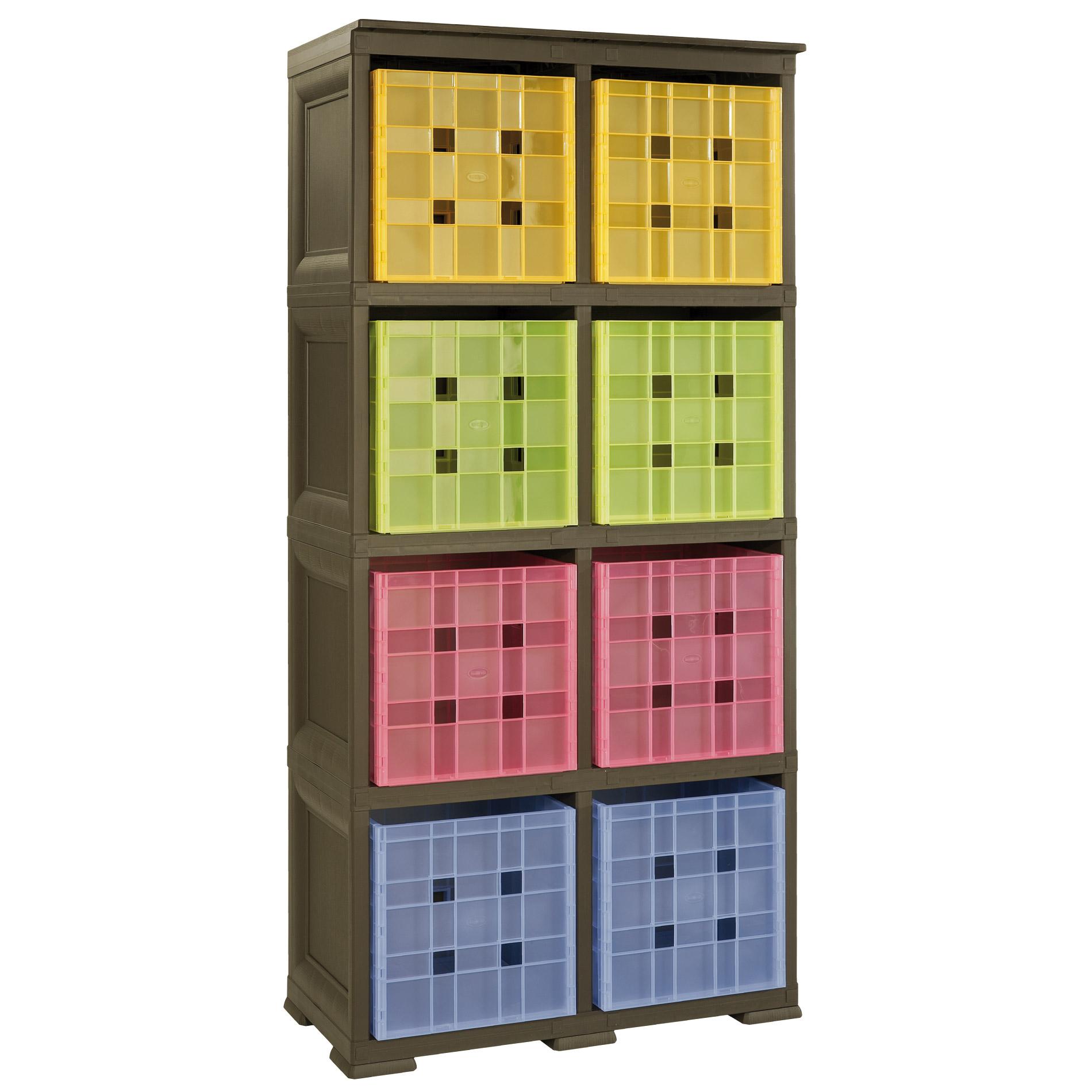 scaffale omnimodus 2 moduli con 8 contenitori cubo